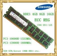 سامسونج ddr3 4 جيجابايت 8 جيجابايت 16 جيجابايت ذاكرة الخادم 1333 1600 ميجا هرتز ecc reg تسجيل rimm 12800R pc3-10600r ddr3 ram X79 x58 motherboard استخدام