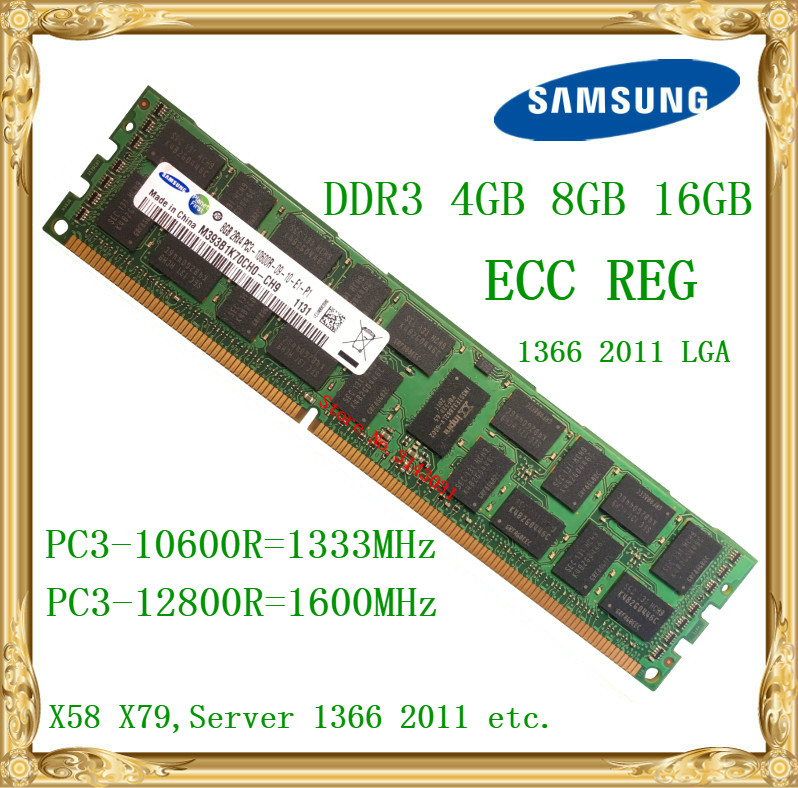 Samsung DDR3 4GB 8GB 16GB server memory 1333 1600MHz ECC REG DDR3 PC3-10600R 12800R  Register RIMM RAM X58 X79 motherboard use server memory for r410 r510 r610 r710 r720 r910 8g ddr3 1333 reg one year warranty