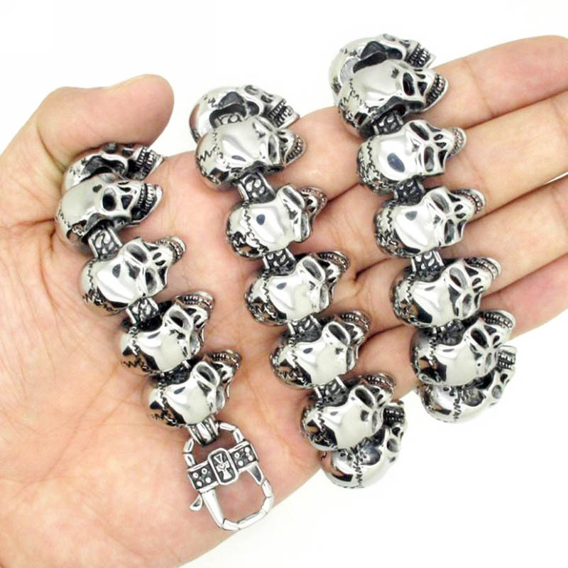 38g 100% Solid Sterling Silver 925 Skull Toggle Bracelet Men Fashion Thick Mens Bracelet Antique Thai Silver Male Jewelry - 5