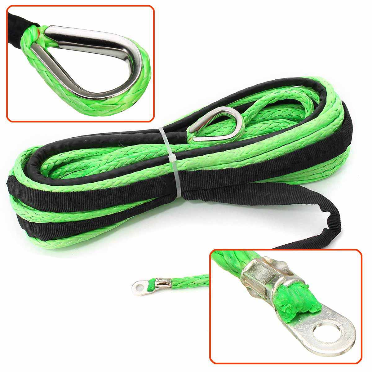 Durable 4.8MM*15M 5500lbs Green Synthetic Winch Rope Cable Line With Hook for ATV UTV Off-Road