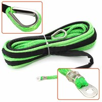 Durable 4 8MM 15M 5500lbs Green Synthetic Winch Rope Cable Line With Hook For ATV UTV