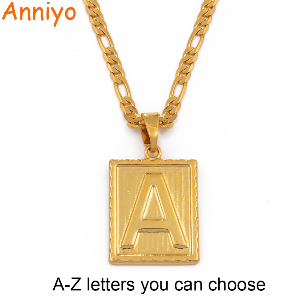 5a5721f5eadd Aniyo A-Z letras cuadradas collar Color dorado colgante inicial cadena para  hombres mujeres letras inglés alfabeto joyería regalos  104006 - a.wangmu.me