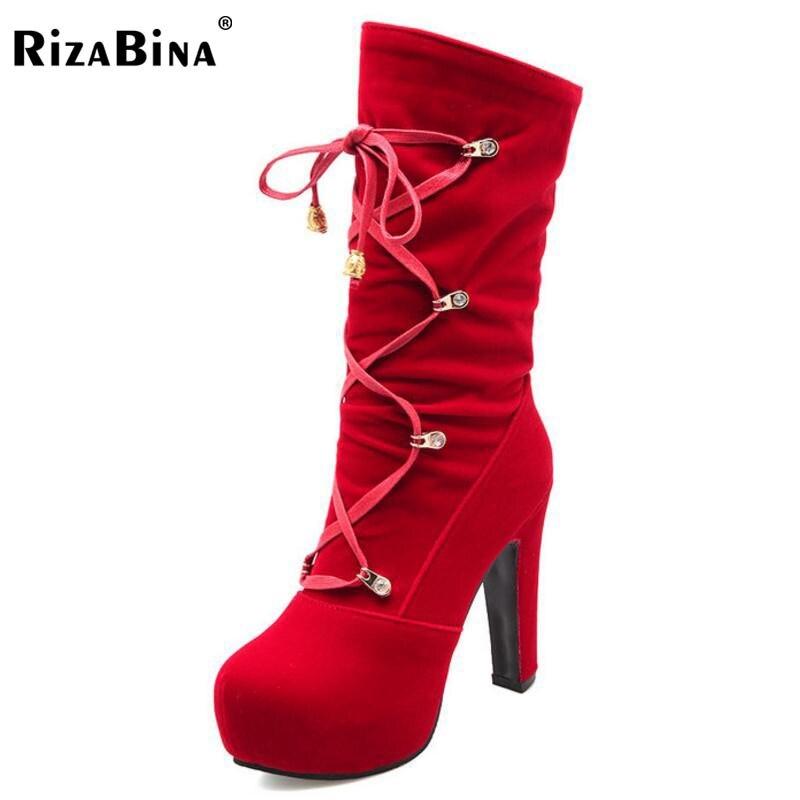 RizaBina Size 34-43 Women High Heel Boots Platform Metal Cross Strap Boots Warm Shoes Mid Calf Autumn Botas Sexy Women Footwears double buckle cross straps mid calf boots