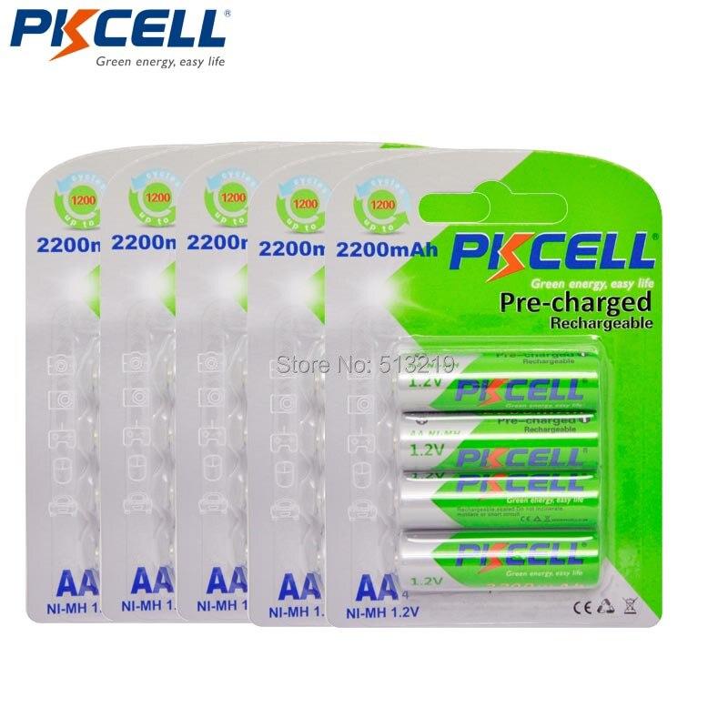 20 ピース * 5 カード PKCELL AA 2200 mah 1.2 ボルトニッケル水素充電式電池低自己放電 2A 2.2Ah バッテリーカメラおもちゃ  グループ上の 家電製品 からの 充電池 の中 1
