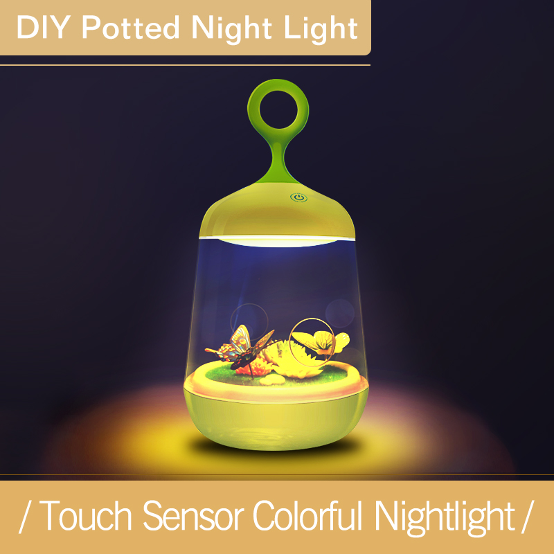 Touch Sensor landscape Plants Light Colorful 3D Rabbit Butterfly Nightlight USB Charging LED Baby Beside DIY Potted Night Light 7 color changing mode micro landscape plant light diy potted night light rechargeable rabbit lamp high quality