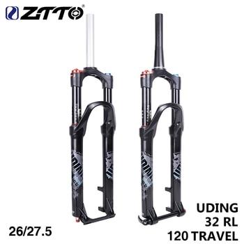 ZTTO 120mm horquilla de aire de viaje 26 27,5 pulgadas suspensión tubo recto cónico eje pasante QR liberación rápida MTB bicicleta Bike Fork