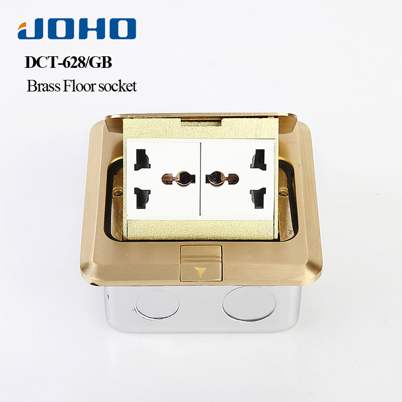JOHO Brass Panel Fast Pop Up Floor Socket Outlet Box with Double Universal Sockets 250V 10A 2 Universal Socket General-Purpose