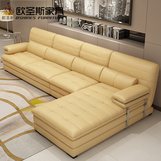 Yellow Leather Sectional Sofa Set Metal Frame Italian L Shape