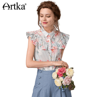 Artka 2017 Spring Summer Floral Butterfly Sleeve Vintage 100 Cotton Pattern Stand Collar Shirt SA11171X