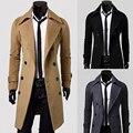 2016 Moda de Nova Longas Homens do Revestimento de Trincheira Trespassado Sobretudo Masculino Slim Fit Mens Casaco À Prova de Vento Plus Size 3XL