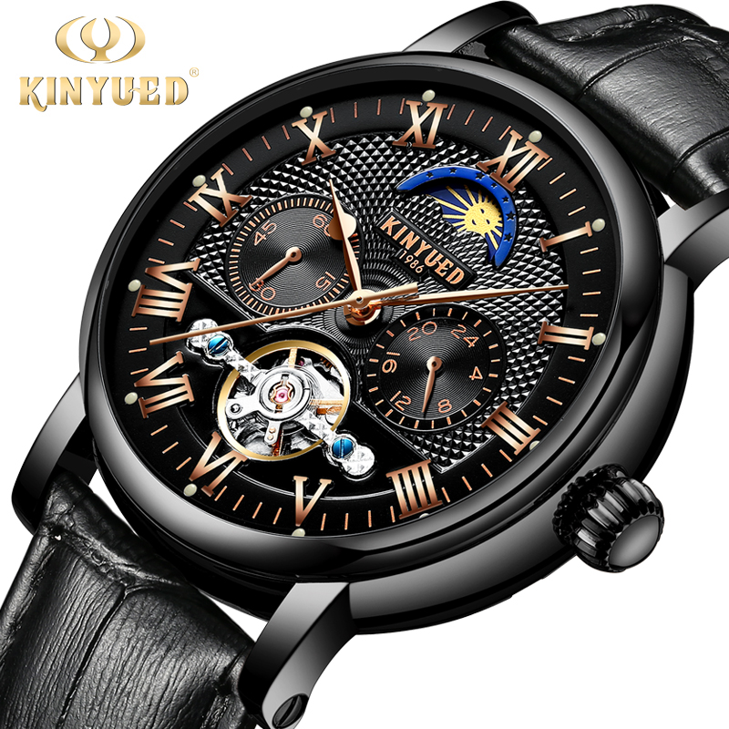 KINYUED Moon Phase Mens Skeleton Watch Men Automatic Mechanical flying Tourbillon Watches Luxury Brand 24hours relogio masculino kinyued automatic mens watch flying tourbillon skeleton mechanical self winding watches men calendar relogio masculino dropship