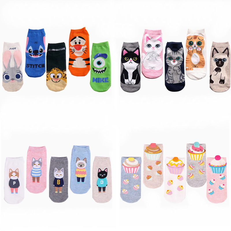 5Pairs/Lot Newly Spring Hot Sale Women Funny Cartoon Socks 20Colors Animals Judy Rabbit Nick Stitch Ice Cream Cotton Socks