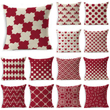 WZH Red and White Geometry Cushion Cover 45x45cm Linen Decorative Pillow Cover Sofa Bed Pillow Case(China)