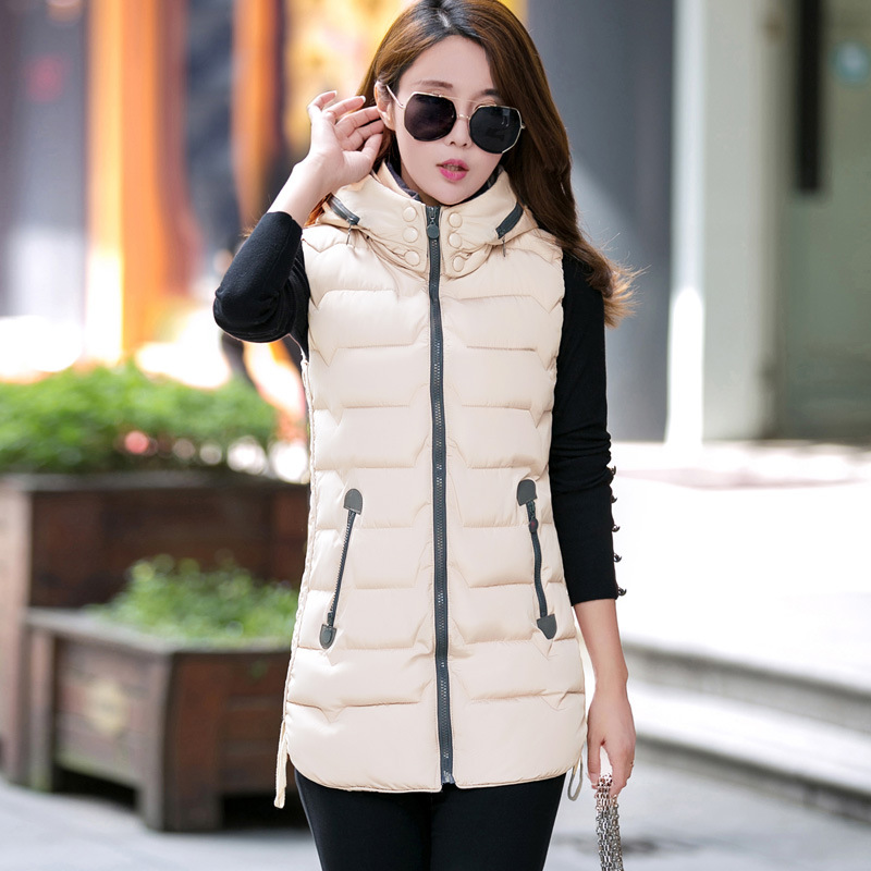 2017 New Woman Sleeveless font b Jacket b font Long Slim Thickening Warm Vestswomen Coat Female