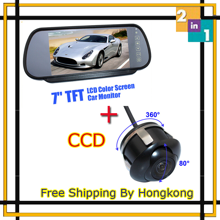 Free Shipping Hongkong 7 Inch TFT LCD Car Monitor Screen Display + HD CCD 360 Degree Rear View Backup Camera Parking Assistance все для кухни