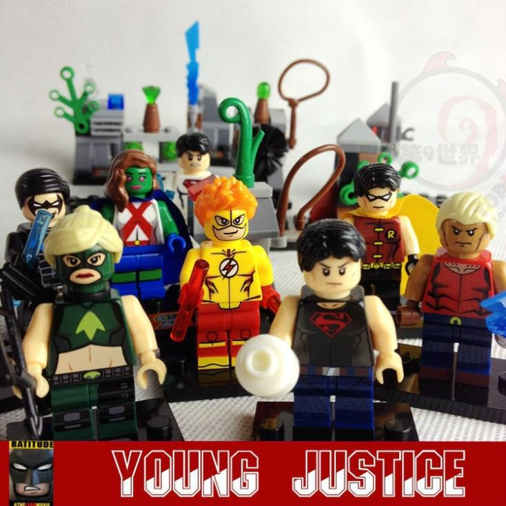 8pcs Young Justice Flash Aqualad Nightwing Robin Toy Minifigs Building Brick Block Compatible With Lego figurine