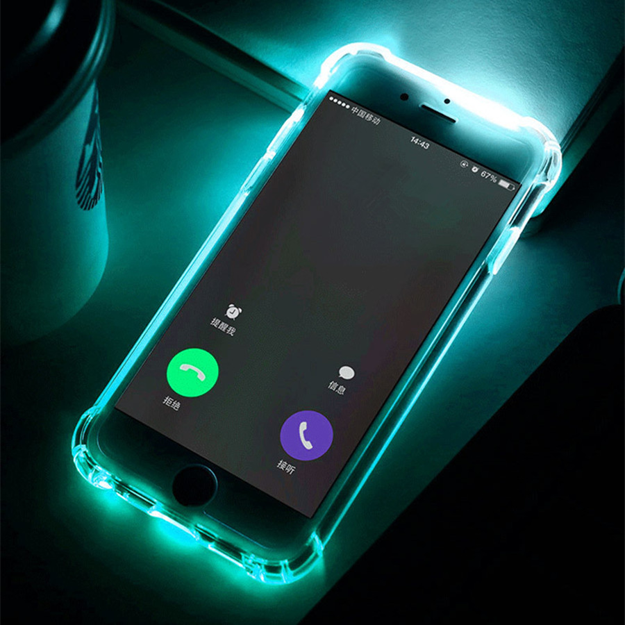 half off c6d6d 5f8d5 US $0.77 14% OFF|Phone Back Case Fundas For iPhone 7 Plus 5 5S SE 6 6S  Cover Anti Knock Soft TPU LED Flash Light Up Remind Incoming Call Cases -in  ...