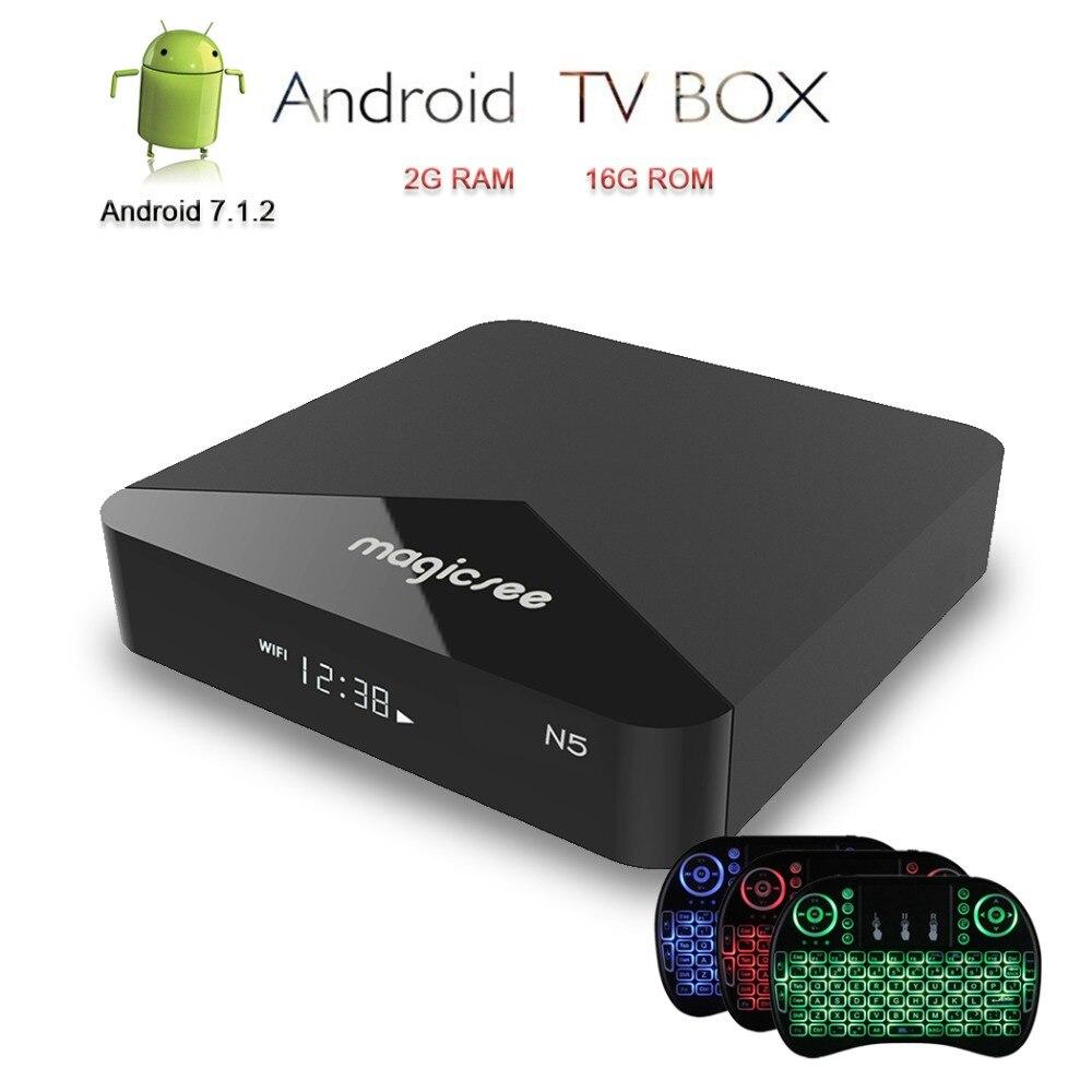 Magicsee Android TV Box N5 Smart TV IPTV Box 4 K décodeur Amlogic S905X lecteur multimédia 2G RAM/16G ROM + i8 clavier MX3 Air souris
