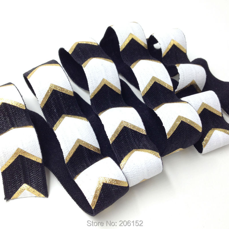 "1 yards Black with gold 5//8/"" solid metallic FOE Fold over elastic DIY hair ties"