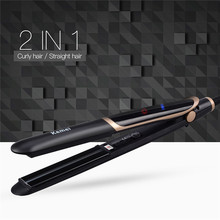 Cheap price Kemei 2 in 1 Tourmaline Ceramic Far-Infrared Hair Straightener Curler Curling Straightening Wide Plate Flat Iron Styling Tools