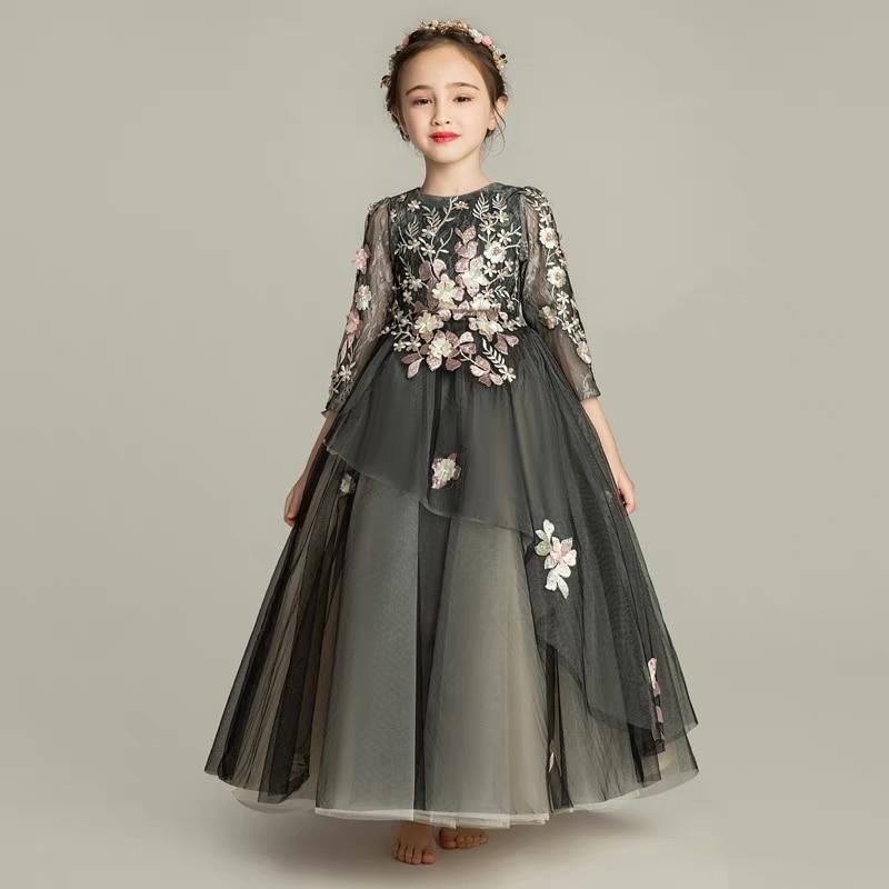 Autumn Winter Children Girls Gorgeous Black Color Birthday Evening Party Flowers Princess Lace Dress Model Catwalk Host Dress