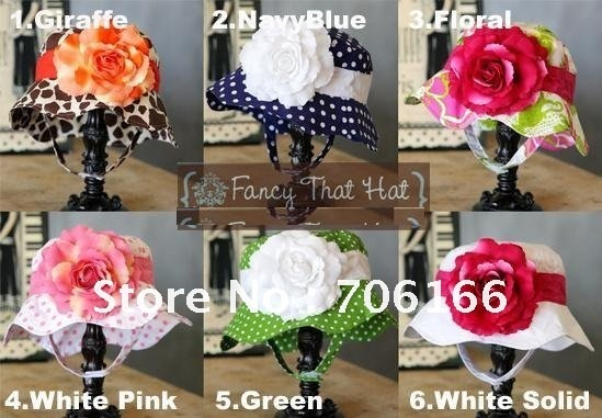 baby sun hat / kids summer cap withe big flower,have 18 kinds of color choose  ,Chna post air mail  FREE SHIPPING