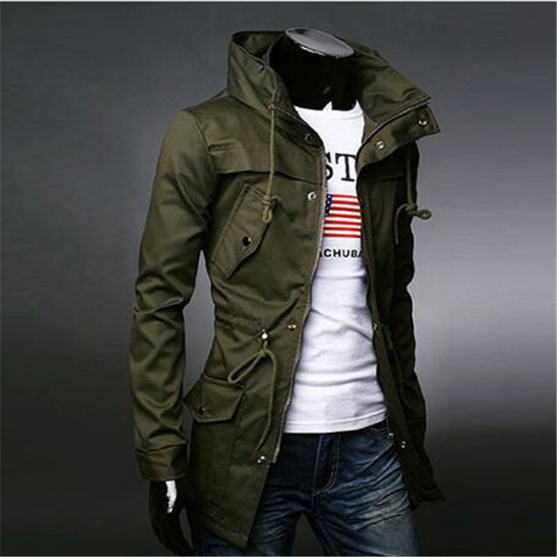 2018 England Style High Collar Trench Army Green Business Casual Slim Windbreaker