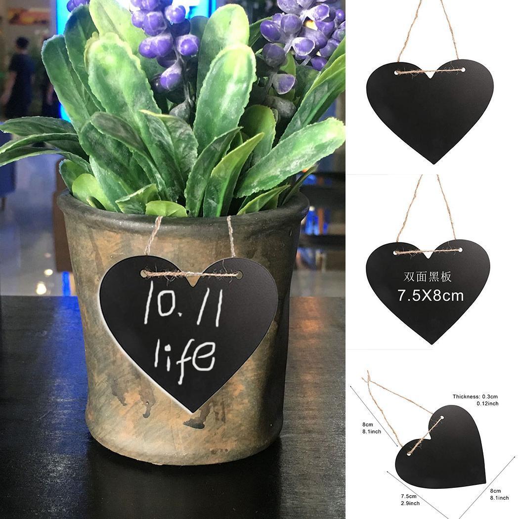 DIY Lanyard Heart Shape Double Sided Black Board Pendants Festivals Decor
