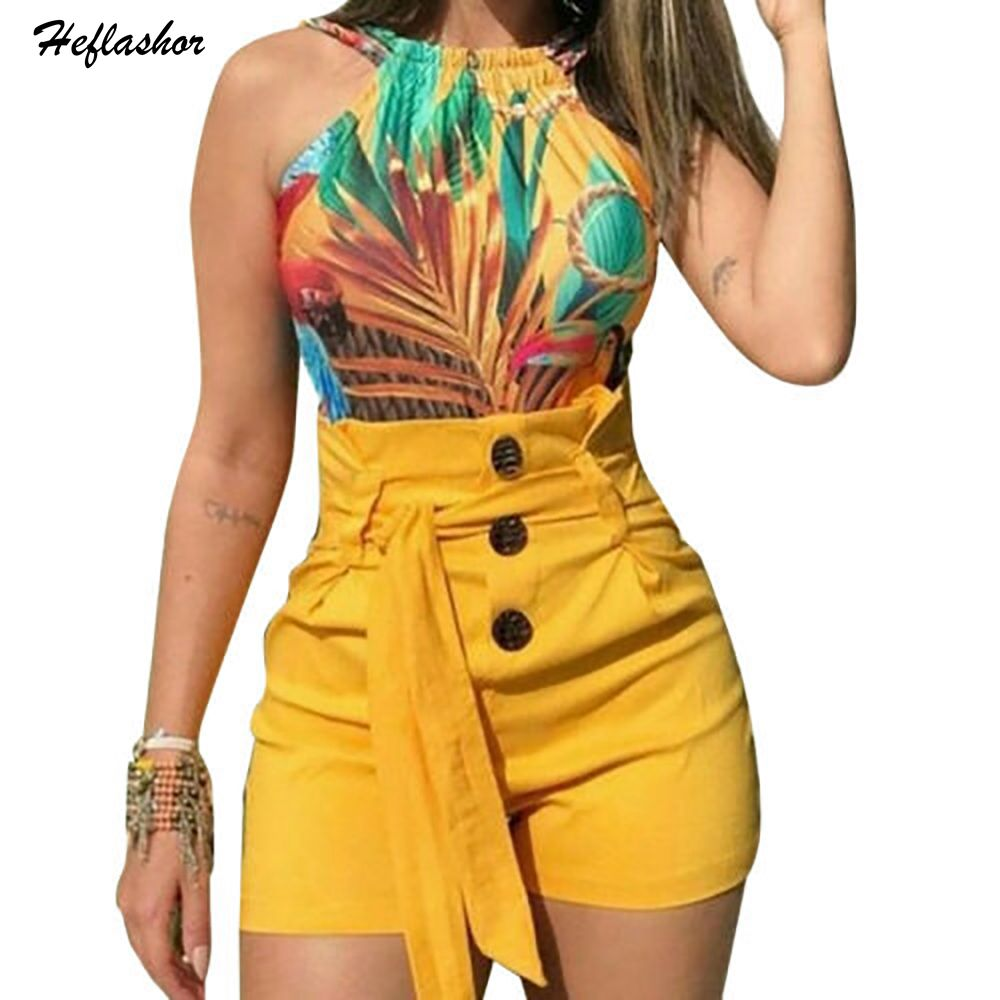 Heflashor Summer Women's 2019 Casual Solid Belt Button Slim   Shorts   High Waist Sexy Stretch Hot   Shorts   Female Plus Size   Shorts