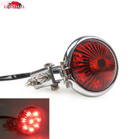 New Red 12V LED Chrome Adjustable Stop Tail Light Motorcycles Brake Rear Lamp Taillight For Cafe