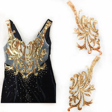 Golden Sequin Neckline Patch Sew on Clothes Gold Silver Red Embroidery Applique Flowers DIY Clothing Patches Sequin v neckline sequin blouse