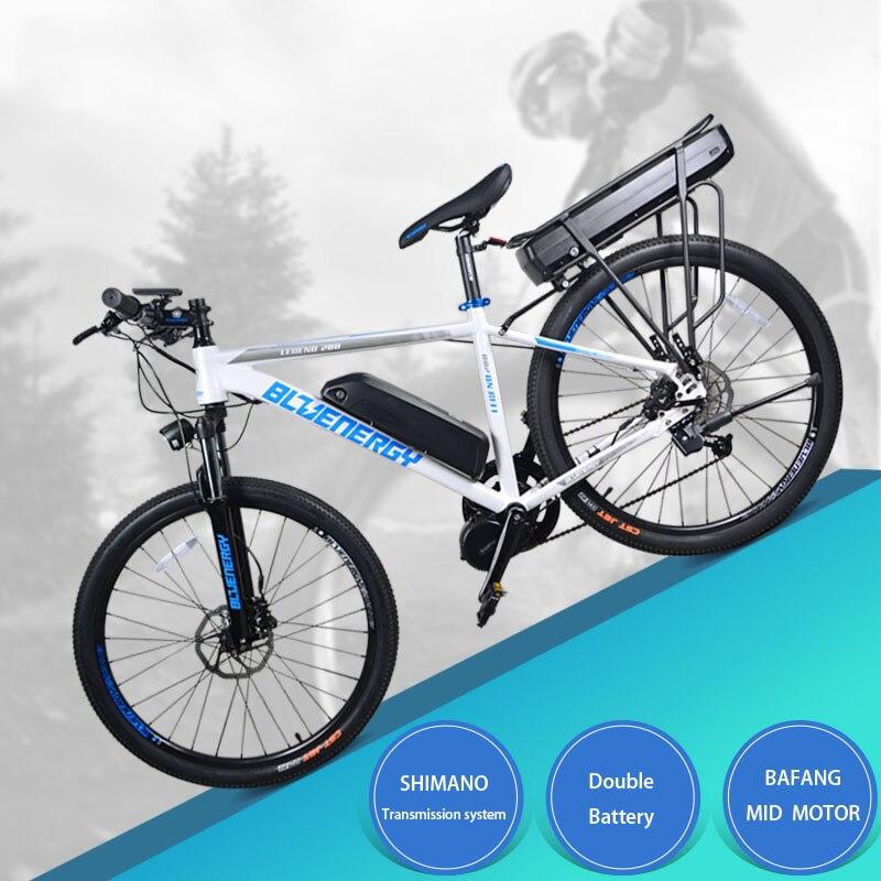 Polegada bicicleta elétrica 48V750w 26 bafang mid-motor 48 v 27.5ah dupla bateria de lítio bicicleta elétrica da montanha 850c LCD