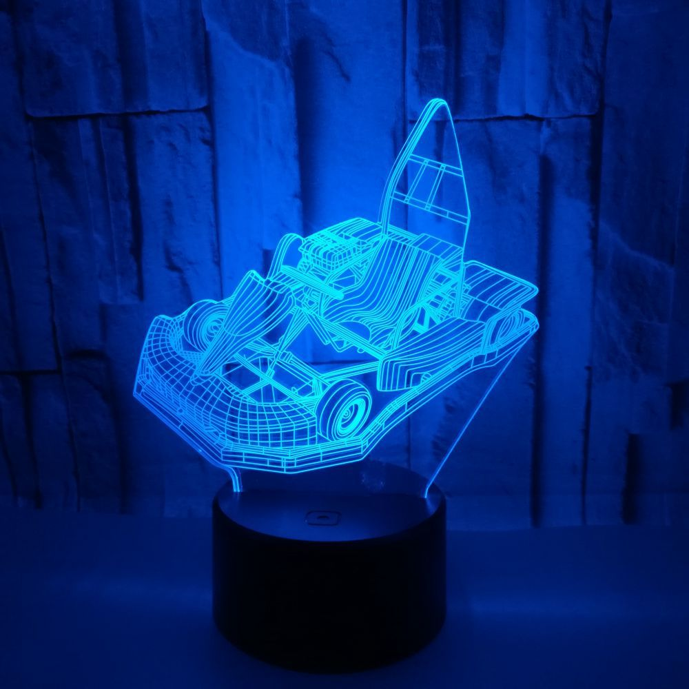 7 Color Chagne Karting 3D Illusion Lamp LED USB 3D Night Lights Creative Toy Car Lamp Home Decoration Baby Sleeping Lighting