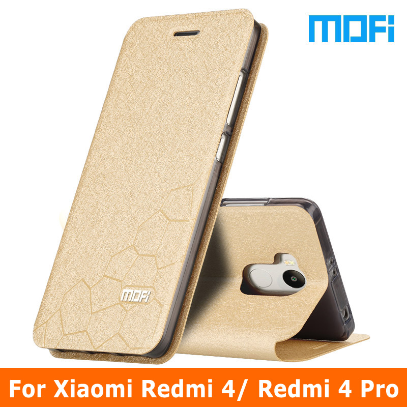 Redmi 4 case original mofi marca del tirón del cuero case para xiaomi redmi 4 pr
