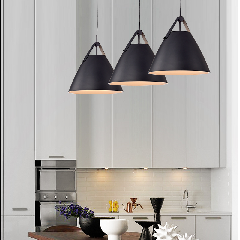 Post modern leather LED single head pendant light macaron colorful foyer coffee shop dining room droplight metal hanging lamp