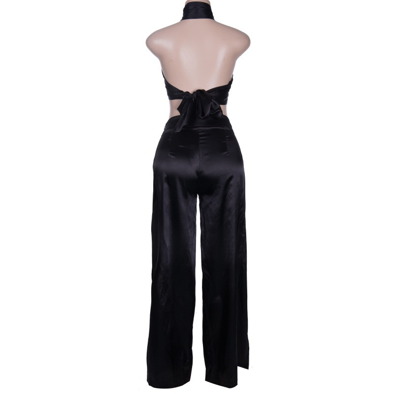 MUXU black cropped two piece set women suits two piece set top and pants two piece outfits backless in Women 39 s Sets from Women 39 s Clothing