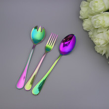 Rainbow Color Steak Knife Dinner Fork Fancy Suit Tableware Mirror Polished Stainless Steel Colorful Dinnerware Set 5pcs/Set