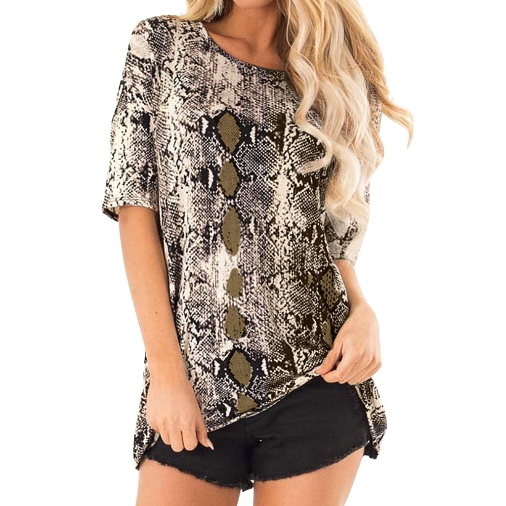 2019 Latest Design Feitong 2019 Blusas Femininas De Verao Fashion Womens Ladies Short Sleeve Snake Print Summer Tee Casual T-shirt Riverdale Office To Be Distributed All Over The World