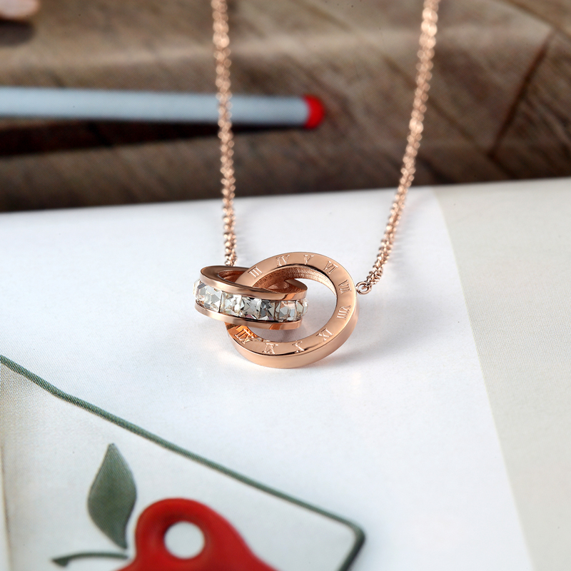 New A Circle Crystal Roman Numerals Double Buckle Woman Necklace Female Titanium Steel Gold Clavicle Necklace Pendant Jewelry 6