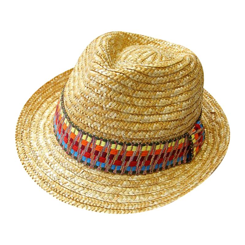 Women Summer Beach Wheat Straw Sun Hat Bohemian Ethnic Rainbow Color Embroidered Wide Brim Sunproof Beachwear