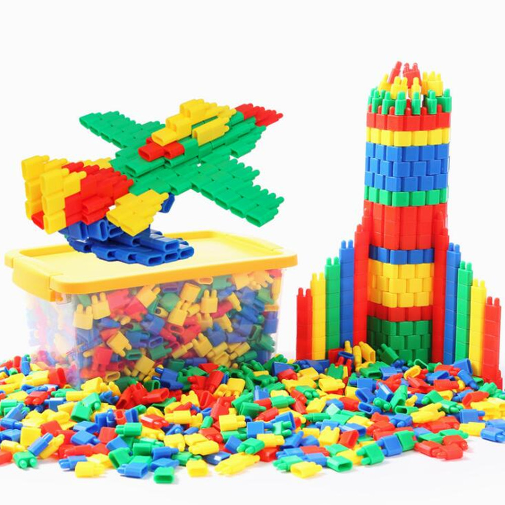 100-1200pc Fashion Plastic Bullet Building Blocks Kids Baby Educational Toys For Boys And Girls Children Christmas Gift