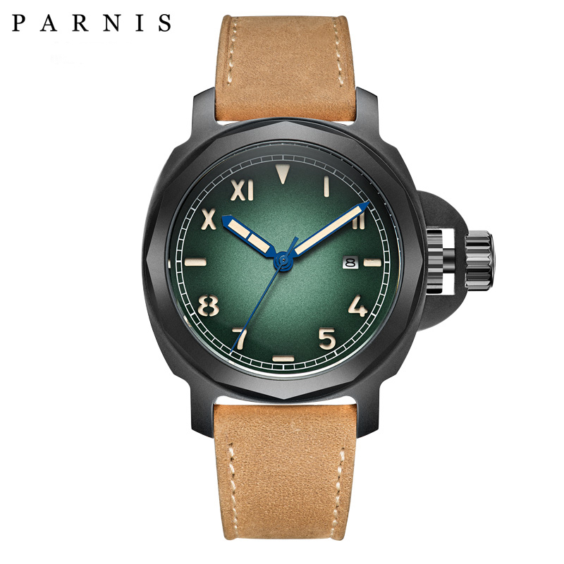 44mm Brand Parnis Men Mechanical Automatic Watch Watches Sapphire Glass GenuineLeather Strap Luminous Siwmming Dive Wristwatch44mm Brand Parnis Men Mechanical Automatic Watch Watches Sapphire Glass GenuineLeather Strap Luminous Siwmming Dive Wristwatch