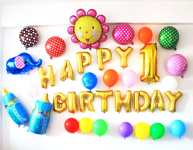 Birthday Party Ballons Baby Dress Foil Letters Decoration Balloons Backdrop 50pcs Set