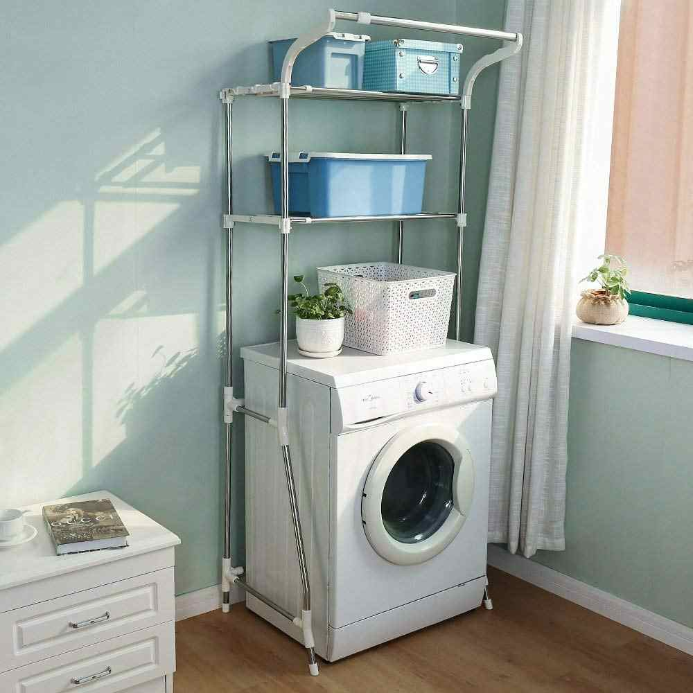 Over Washing Machine Shelves Bathroom Storage Rack Over Toilet Shelf Stainless Steel Simple Assembly Furniture DQ5021-5