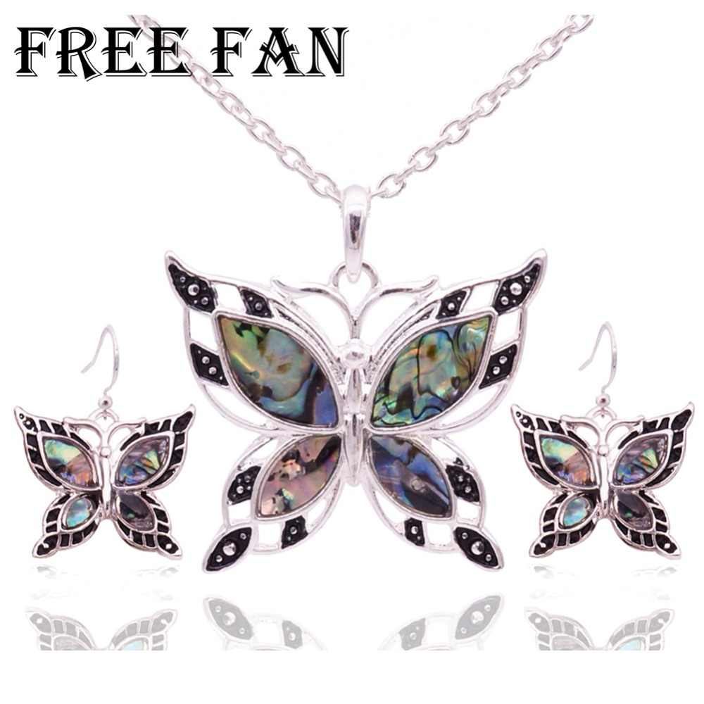 Free Fan Statement Shell Butterfly Choker Necklace Sets Classic Love Animal Indian Turkish Jewelry Necklace Earrings Set