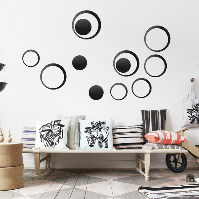 5pcs Set Acrylic Circle Mirror Wall Stickers Removable Diy Decoration Art Decals For Kids
