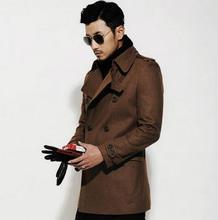 Black brown autumn winter warm Double-breasted wool coat men coat veste homme overcoat men trench coat youth fashion M – 3XL