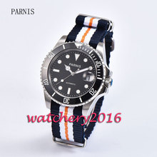 Fashion 40mm Parnis black dial white numbers luminous markers sapphire glass miyota Automatic movement Men s