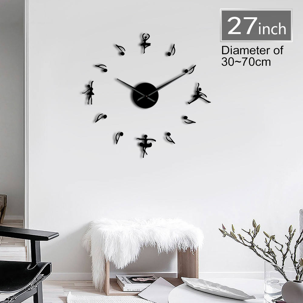 Sticker Wall-Clock Ballerinas Watch Decor Number Dancer 3d-Mirror Large Modern Gift DIY