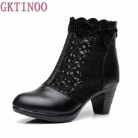 Women Summer 2016 Ankle Boots For Women Black Ankle Womens Boots Genuine Leather Lace Autumn Spring